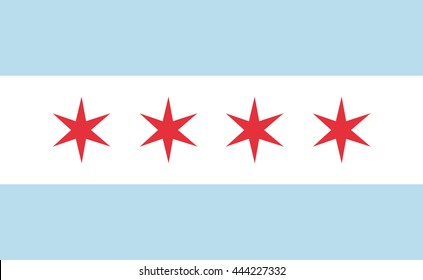 Chicago flag official right proportions, red stars vector illustration EPS10