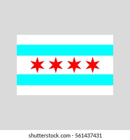 Chicago flag on white background vector illustration
