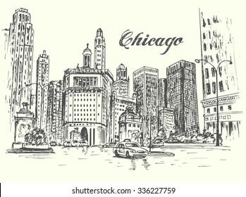 Chicago hand drawn city scene isolated illustration