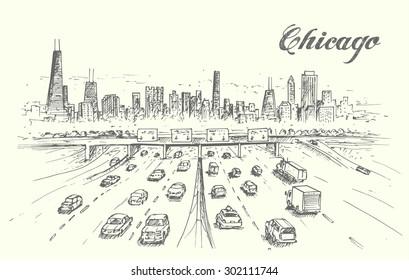 Chicago highway hand drawn
