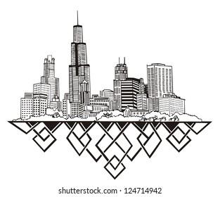 Chicago, IL Skyline. Black and white vector illustration EPS 8.