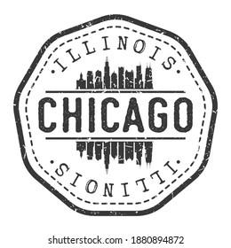 Chicago, IL, USA Stamp Skyline Postmark. Silhouette Postal Passport. City Round Vector Icon. Vintage Postage Design.