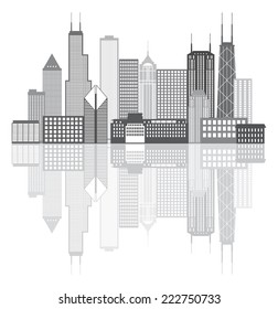 Chicago Illinois City Skyline Panorama Grayscale Outline Silhouette with Reflection Isolated on White Background Vector Illustration