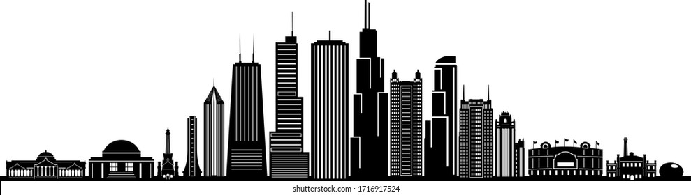 CHICAGO ILLINOIS City Skyline Silhouette Cityscape Vector