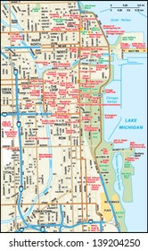 Chicago, Illinois downtown map