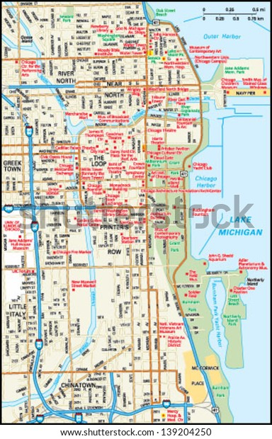 Chicago Map Downtown on