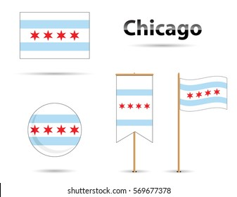 Chicago Illinois flag, blue and red