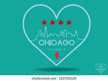 Chicago Illinois in heart with star and  map, Vector EPS 10.