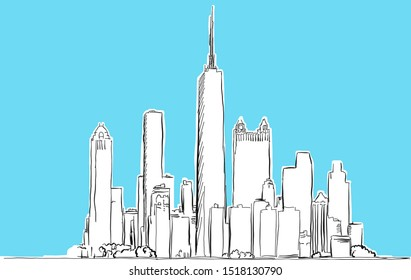 Chicago, Illinois Lineart Vector Sketch. and Drawn Illustration on blue background.
