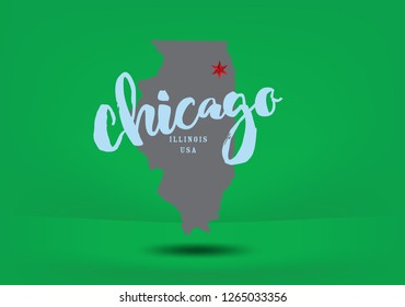 Chicago Illinois map Vector EPS 10.