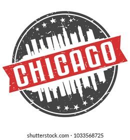 Chicago Illinois Round Travel Stamp Icon Skyline City Design