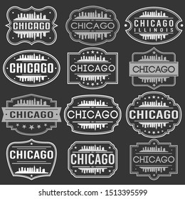 Chicago Illinois Skyline. Premium Quality Stamp Frames. Grunge Design. Icon Art Vector. Old Style Frames.