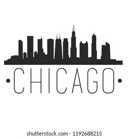 Chicago Illinois Skyline Silhouette City Design Vector Famous Monuments