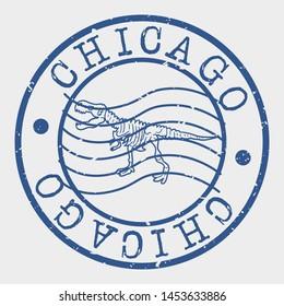 Chicago Illinois Stamp. Dinosaur Bones Silhouette Seal. Round Design. Vector Icon. Design Retro Insignia.