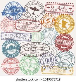 Chicago Illinois Stamp Vector Art Postal Passport Travel Design Set