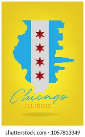 chicago illinois with star  symbol vector eps 10