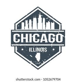 Chicago Illinois Travel Stamp Icon Skyline City Design Badge.