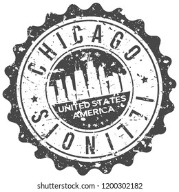 Chicago Illinois Travel Stamp Icon City Design Tourism Export Seal