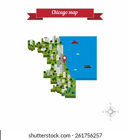 Chicago, Illinois, United States of America cartoon isolated closeup map. Flat style design - vector.
