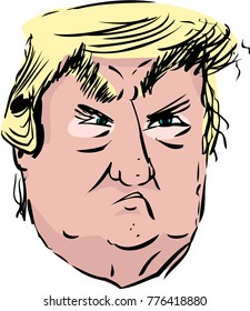 Chicago, Illinois / United States - December 12, 2017: Head portrait of pouting President Donald J. Trump caricature over white background