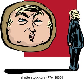 Chicago, Illinois / United States - December 12, 2017: Donald J. Trump facing a mirror floating above the ground for Snow White concept