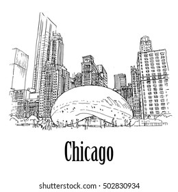 CHICAGO, ILLINOIS, USA - 7 May 2013: Cloud Gate. Public sculpture by Anish Kapoor, that is the centerpiece of AT&T Plaza at Millennium Park in the Loop community area. Hand drawn sketch.