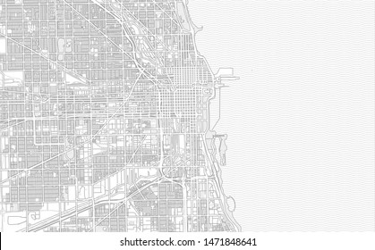 Chicago, Illinois, USA, bright outlined vector map with bigger and minor roads and steets created for infographic backgrounds.