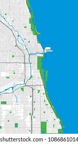 Chicago, Illinois (USA) roads and streets vector map
