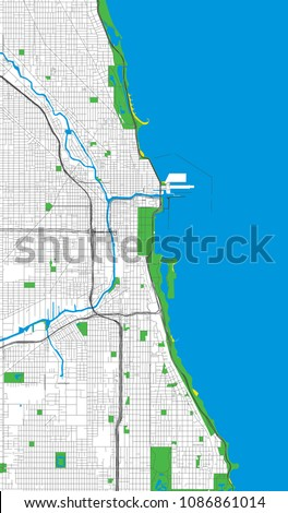 Chicago Illinois USA Roads Streets Vector Stock Vector (Royalty Free ...