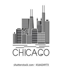 Chicago Illinois USA skyline line art vector illustration