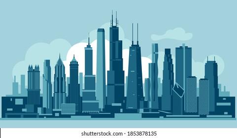 Chicago Illinois Usa skyline vector illustration