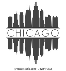 Chicago Illinois USA Skyline Vector Art Mirror Silhouette Emblematic Buildings