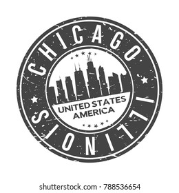 Chicago Illinois USA Stamp Logo Icon Symbol Design Skyline City
