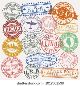 Chicago Illinois USA Stamp Vector Art Postal Passport Travel Design Set