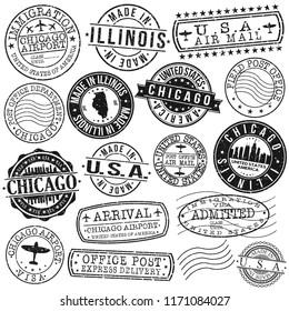 Chicago Illinois USA Stamp Vector Art Postal Passport Travel Design Set