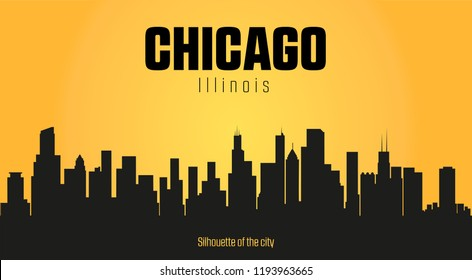 Chicago Illnois city silhouette and yellow background