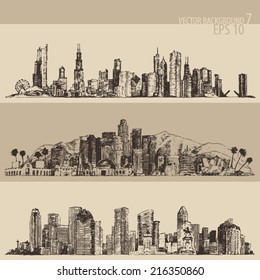 Chicago, Los Angeles, Houston big city architecture, vintage engraved illustration, hand drawn, sketch