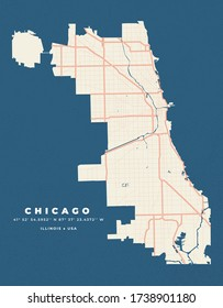 Chicago Map Road Poster Flyer Vector - Illinois USA