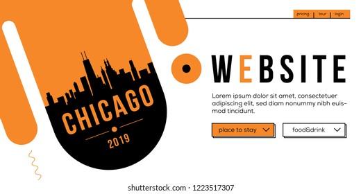 Chicago Modern Web Banner Design with Vector Skyline