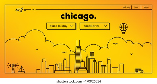 Chicago Modern Web Banner Design with Vector Linear Skyline