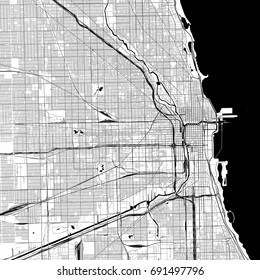 Chicago Monochrome Vector Map. Very large and detailed outline Version on White Background. Black Highways and Railroads, Streets and Water.