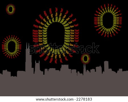chicago skyline and abstract happy new year fireworks illustration