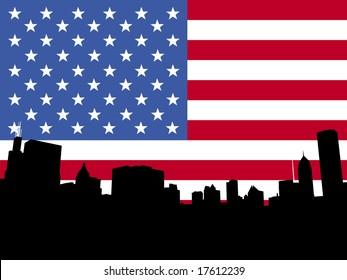 Chicago skyline and American flag illustration