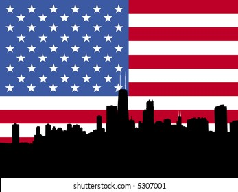 Chicago Skyline with American flag illustration