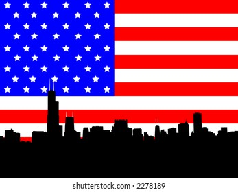 Chicago skyline and American Flag stars and stripes illustration