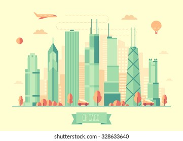 Chicago skyline architecture, vector illustration with plane, cars and air balloon, flat design