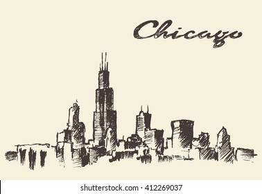 Chicago skyline, big city architecture, engraving vector illustration, hand drawn