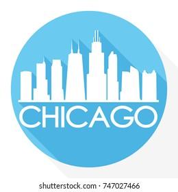 Chicago Skyline Button Icon Round Flat Vector Art Design Color Background
