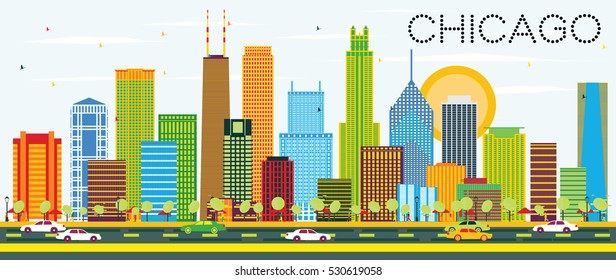 Chicago Skyline with Color Buildings. Vector Illustration. Business Travel and Tourism Concept with Modern Architecture. Image for Presentation Banner Placard and Web Site.