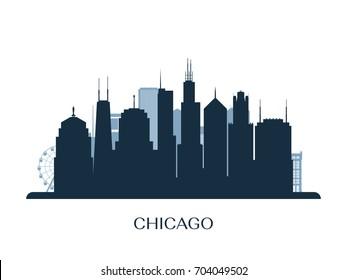 Chicago skyline, monochrome silhouette. Vector illustration.